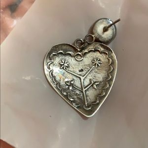 Jewelry - 925 Silver and onyx heart earrings